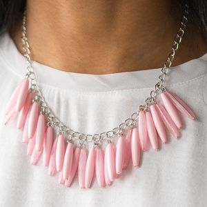 Silver Necklace W/ Pink Beads